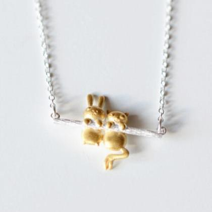 Cute Rabbit And Bear Pendant Neckla..