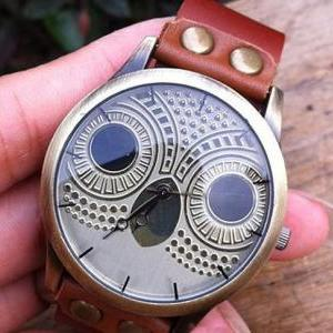 Retro Owl Rivet Leather Watch