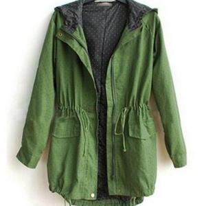 Hooded Elastic Green Trench Coat
