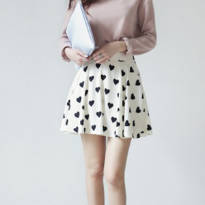 White Chiffon Skater Skirt with Bla..