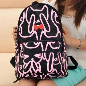 Neon Cat With Bow Backpack Shoulde..