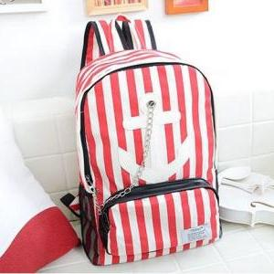 Backpack Women Men Bags Anchor Stri..