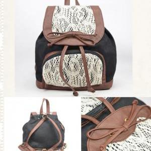 Retro Cute Lace Bowknot Backpack Ba..