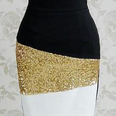 Black And White Mosaic Gold Sequine..