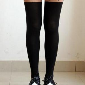 Tattoo Heart Spliced Pantyhose High..