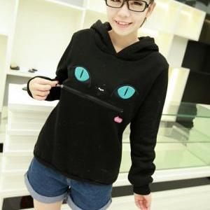 fashion and cute Hooded Zippered Ca..