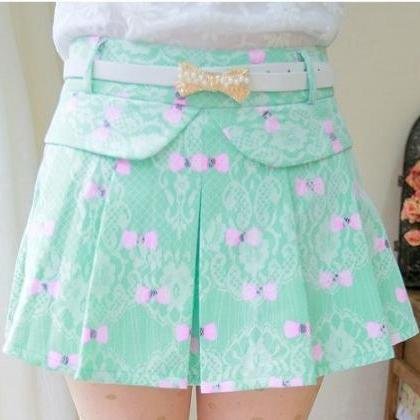 Bow Pattern Lace Skirt (with Belt )..