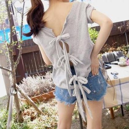 Hollow Bow Sexy T-shirts DX619033