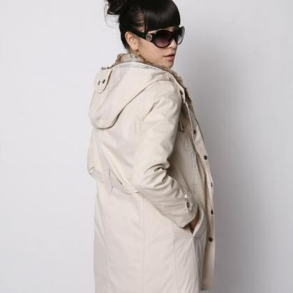 White Parka With Faux Fur Inner