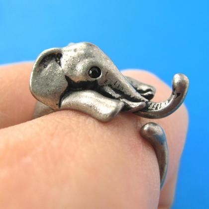 Realistic Elephant Animal Wrap Around Hug Ring In Silver Sizes 4 To 13