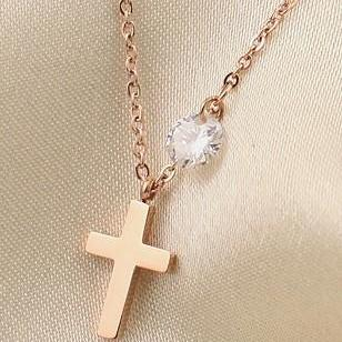 Cross Anklet With Rhinestone