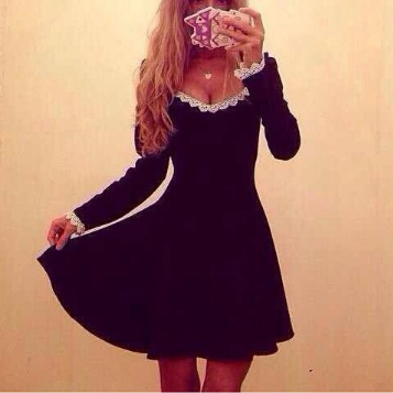 Sexy fashion Slim V-Neck Long-Sleeved Dress