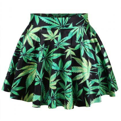 Sexy Maple Leaf Printed Skirt