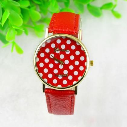 Dot Watch Red Polka Dot Leather Watch Leather Watch Bracelet Watch Vintage Watch Retro Watch Woman Watch Lady Watch Girl Watch Unisex Watch