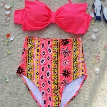 Women Retro Polka Dot Halter Swimsu..