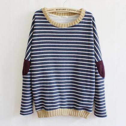 Hot sale Fashion Striped Patch Swea..