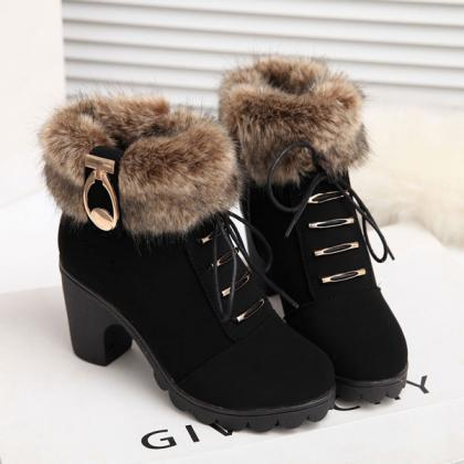Heel Shoelace Long Plush Boots LOXV..