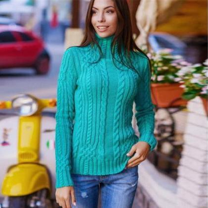 Sexy High-neck Solid Slim Pullover ..