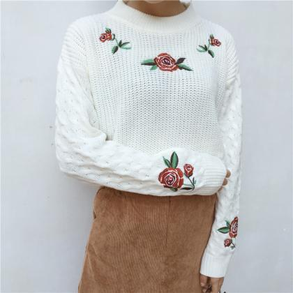 Free shipping retro rose embroidery..
