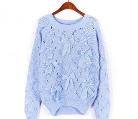 Sweater Bow Hollow Pearl - Blue