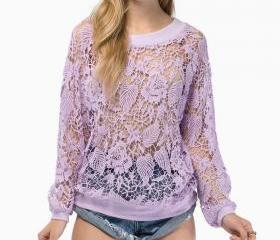 Cheap O Neck Long Sleeves Lace Hollow-out Purple Regular Pullover Sweat