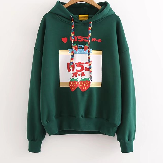 Black/Green color Strawberry Print Hoodie