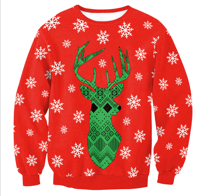 Merry Christmas Elk and Snow Flakes Printed Sweater, Christmas Ugly Sweater
