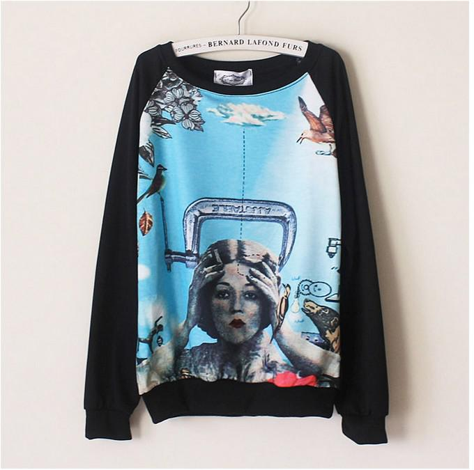 Korean New Fashion Women Hand Painted Sweatershirt Long Sleeve O-Neck Vintage Loose Casual Shirt