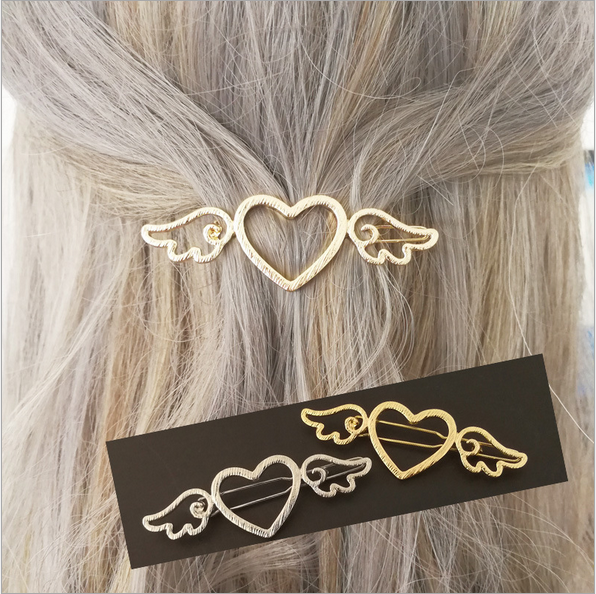 2PCS Silvery/Golden Cardcaptor Sakura Wings Heart Hairpin