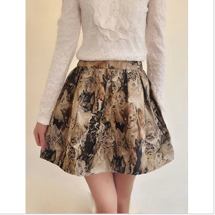 High Waist Embroidered Happy Cutie cat Skirt