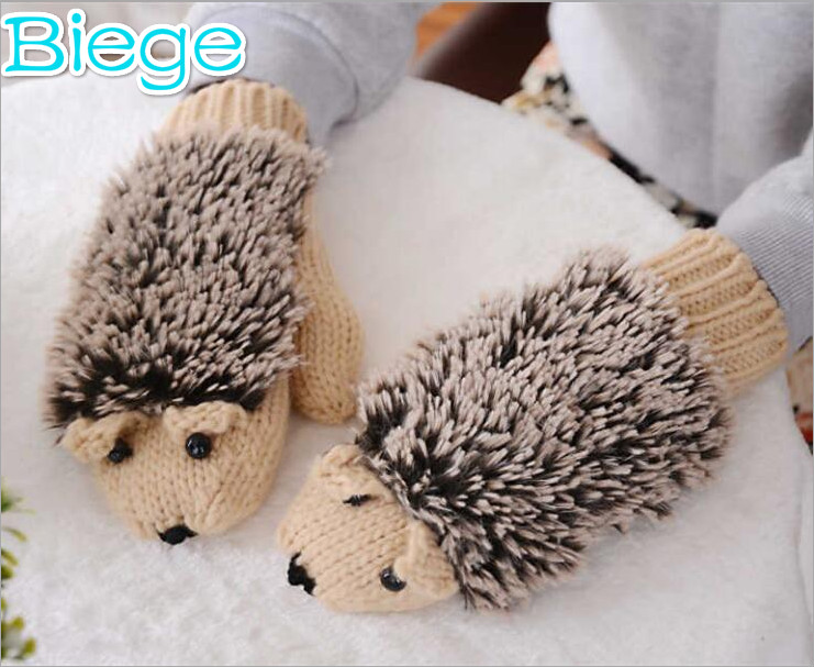Cute beige color Hedgehog thick cotton women Gloves
