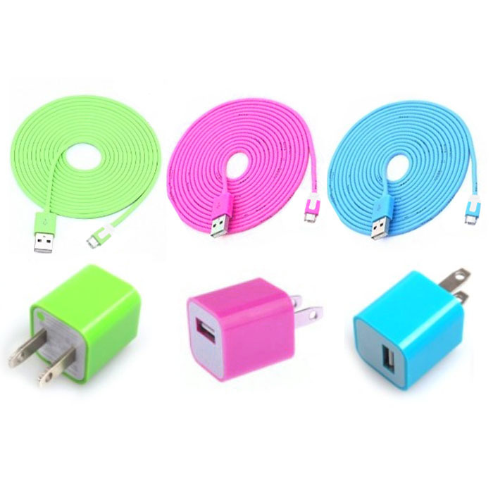 Total 6pcs Lot Cool Colouful 3pcs Usb Cord And Charger