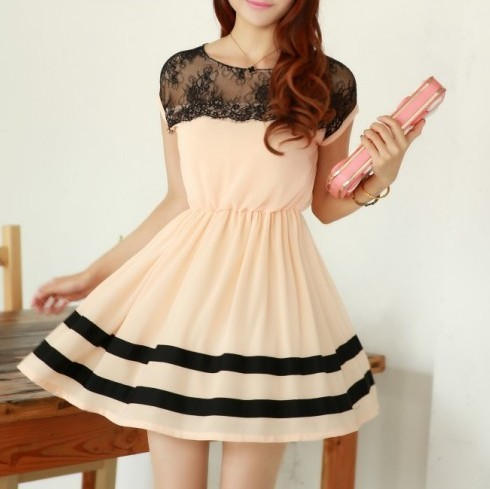 Slim Chiffon Dress Lace Stitching