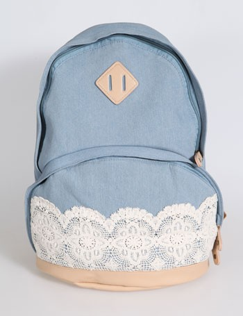 Hot Sale Cute Denim Authentic Lace Backpack For Women on Luulla