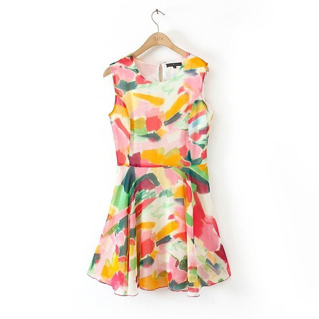 Mutilcolor Printed Sleeveless Dress