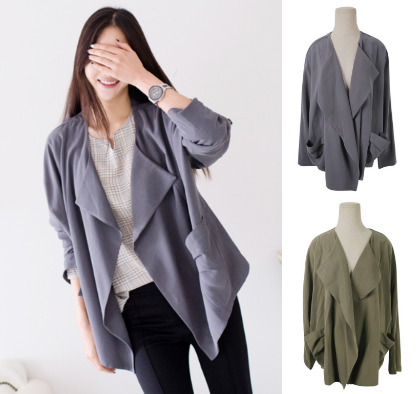 Cardigan Jacket Outerwear Outer Grey Green Khaki Autumn Fall Jumper Stylish Office Casual Women Natural Fit Boxy