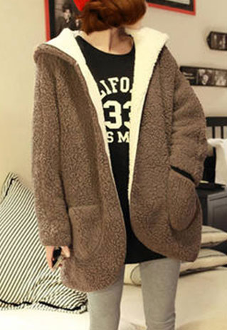 Open Front Slouchy Warm Reversible Hooded Jacket Coat