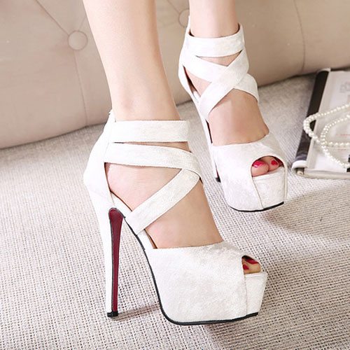 Sexy Crisscross Strap Open Toe High Stiletto Heel Platform Sandal