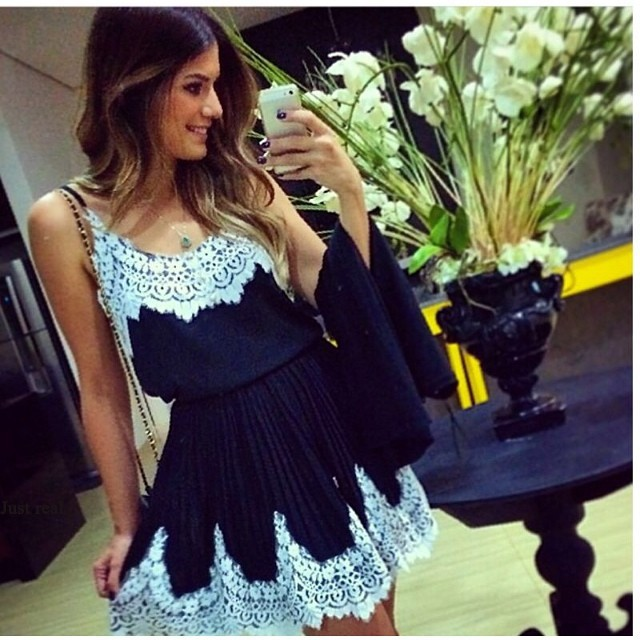 Sexy Fashion Casual White Stitching Lace Dress for 2015 summer