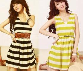 2015 summer New Fashion Women's Girl V Collar Sleeveless Stripe Slim Chiffon Dress 2 Colors