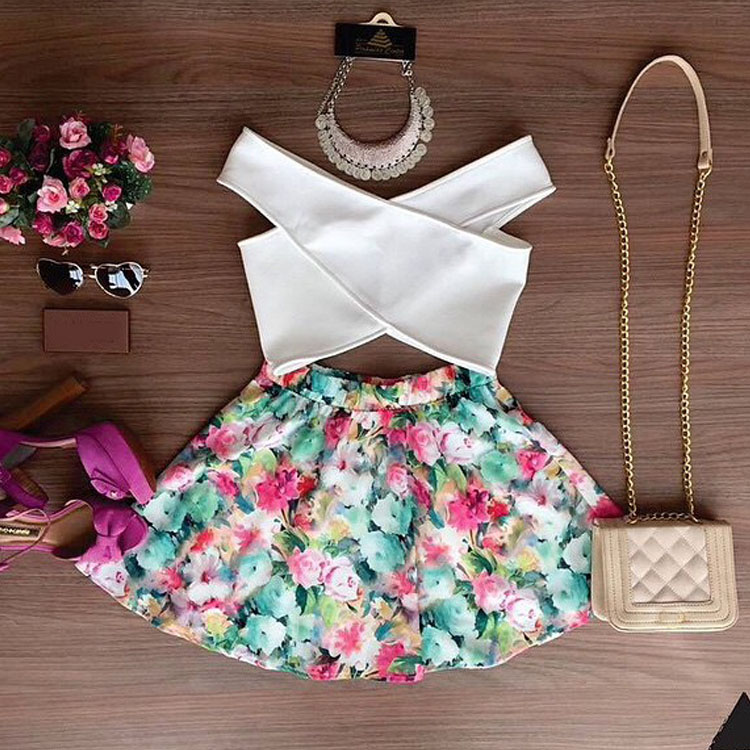 2015 summer sexy Off Shoulder Crop Top Floral Skirt Set for women