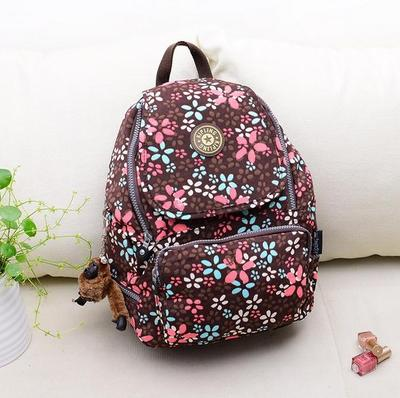 Travel Backpack Waterproof Nylon Shoulder Bag Handbag --Brown Flower