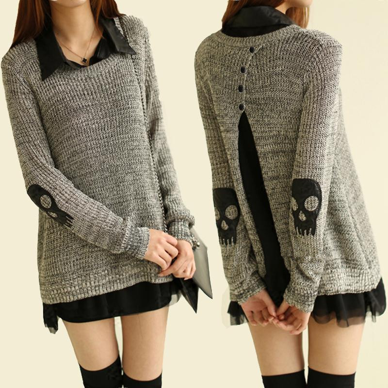 2015 hot sale fashion New Skull Black And White Mixed Slim Sweater &Cardigan for women
