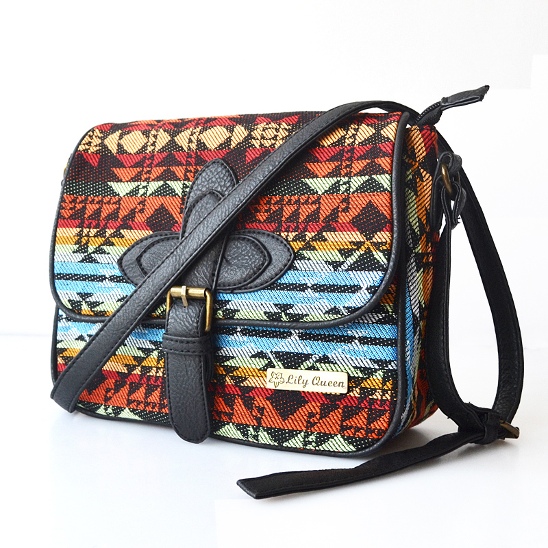 2015 New hot sale Folk Style Geometry Waves Canvas Shoulder Bag