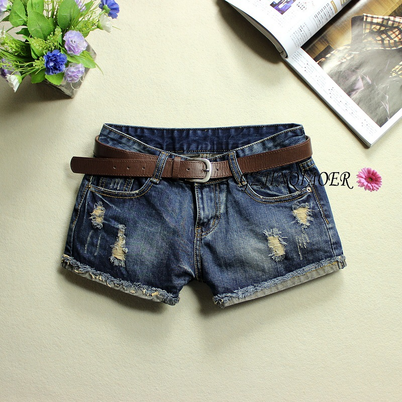 Hot sale Oldest Summer New Leather Make Wild Frayed Denim Shorts Tide for women