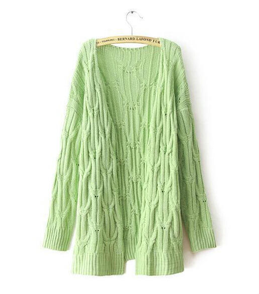 Women Autumn Winter Long Sleeve Candy Color Knitting Cardigan Long Sweater Coat Outerwear
