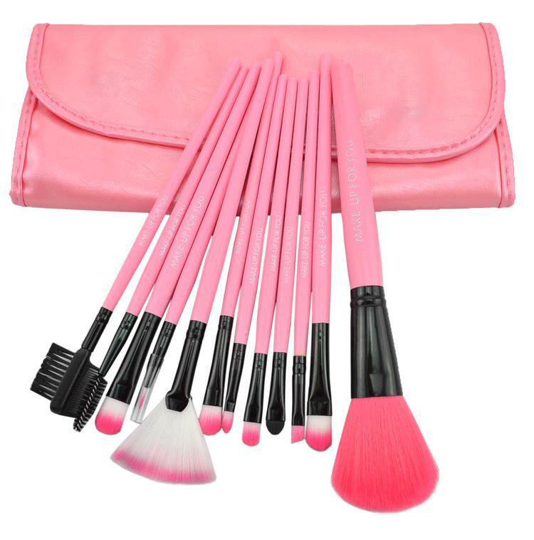 High Quality 12 Pcs Professioal Makeup Brush Set With Black Leather Case - Pink