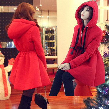 2015 Hot sale Hooded Waist Was Thin Thick Coat