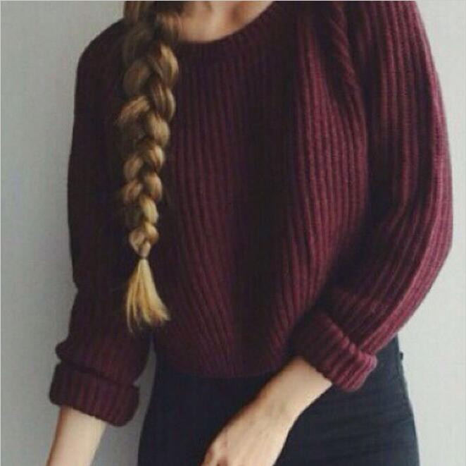 Women Autumn winter pullovers korean style long sleeve casual slim solid knitted jumper sweater