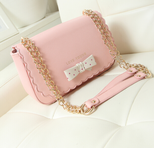 2016 new spring summer women Lovely Pink Bowknot Chain Bag